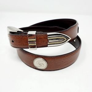 Brown Leather Round Silver Tone Accent Belt